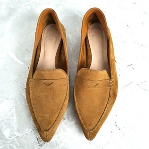 Zara Camel Suede Pointed Toe Penny Loafers Flats
